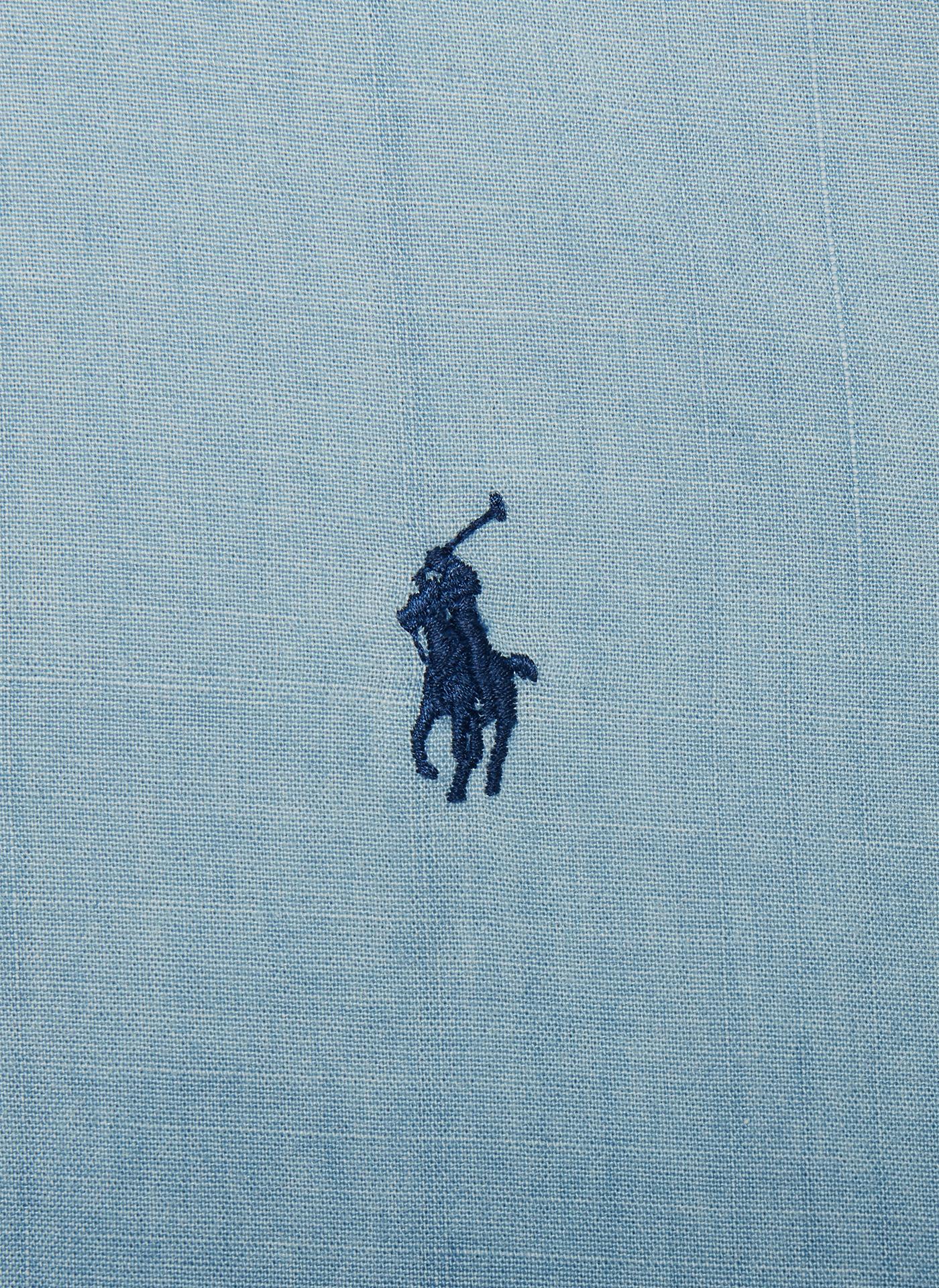light blue denim  close up of the polo logo