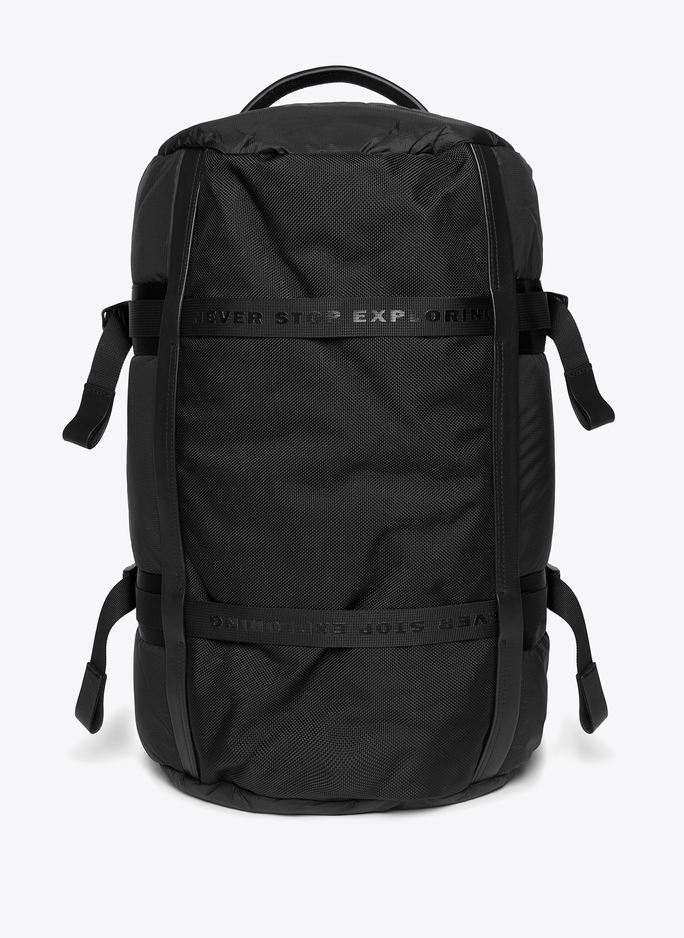 black backpack shot from the front on a white background