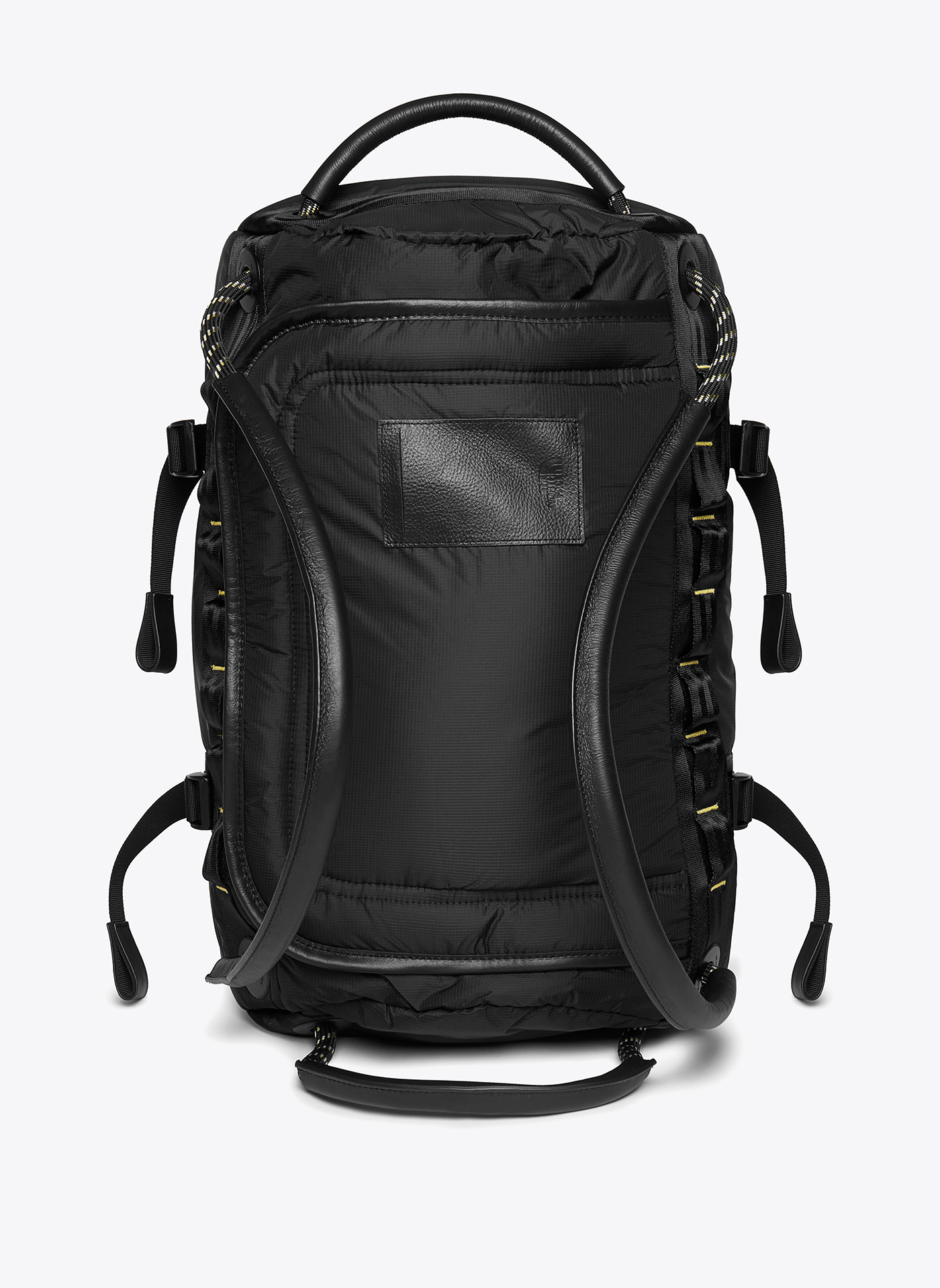 black backpack shot from the back on a white background