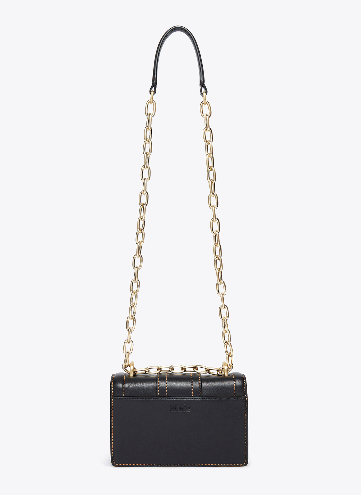 black and gold versace handbag from the back