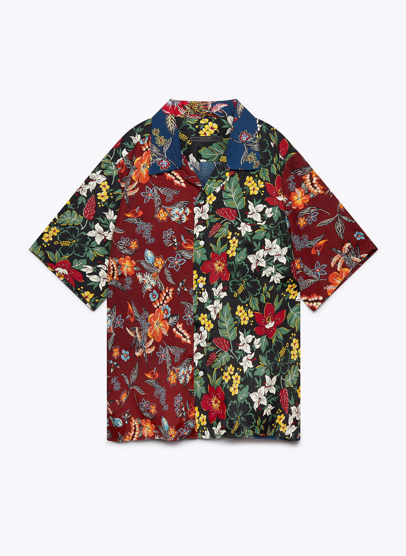 floral patterned t-shirt with buttons