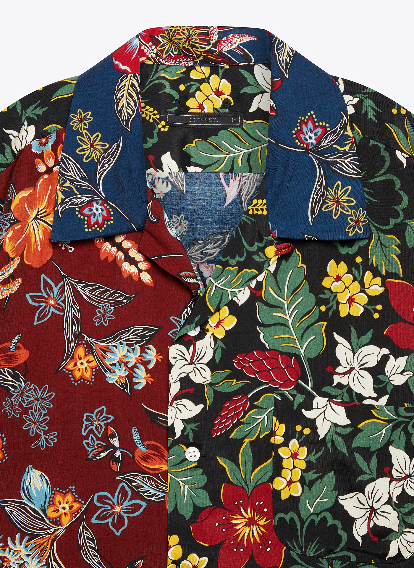 close up of a floral patterned t-shirt
