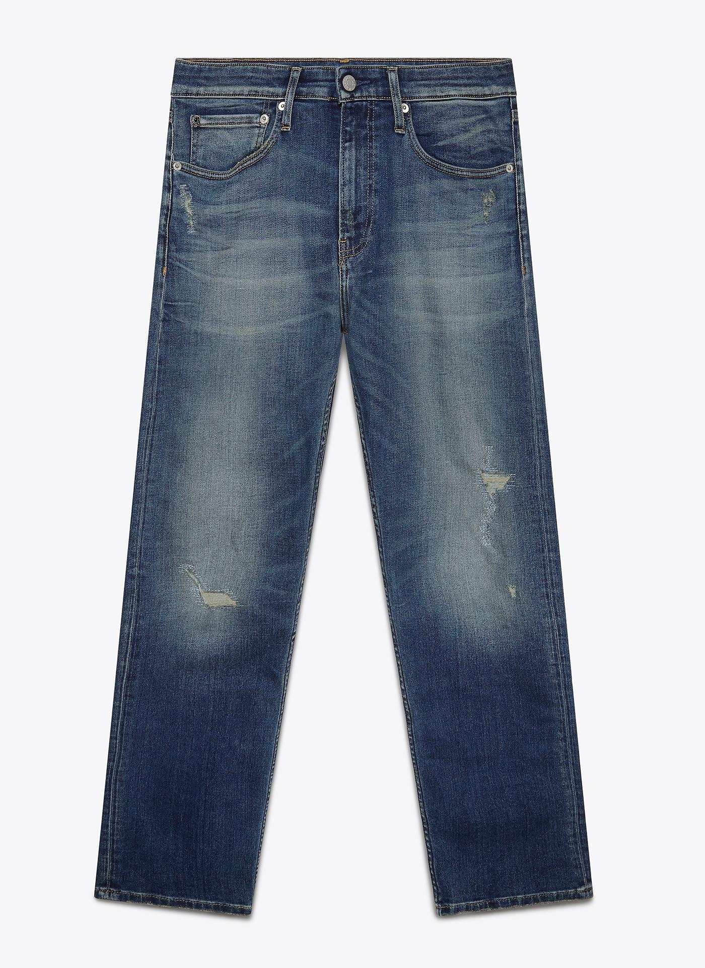 blue denim jeans front on white background