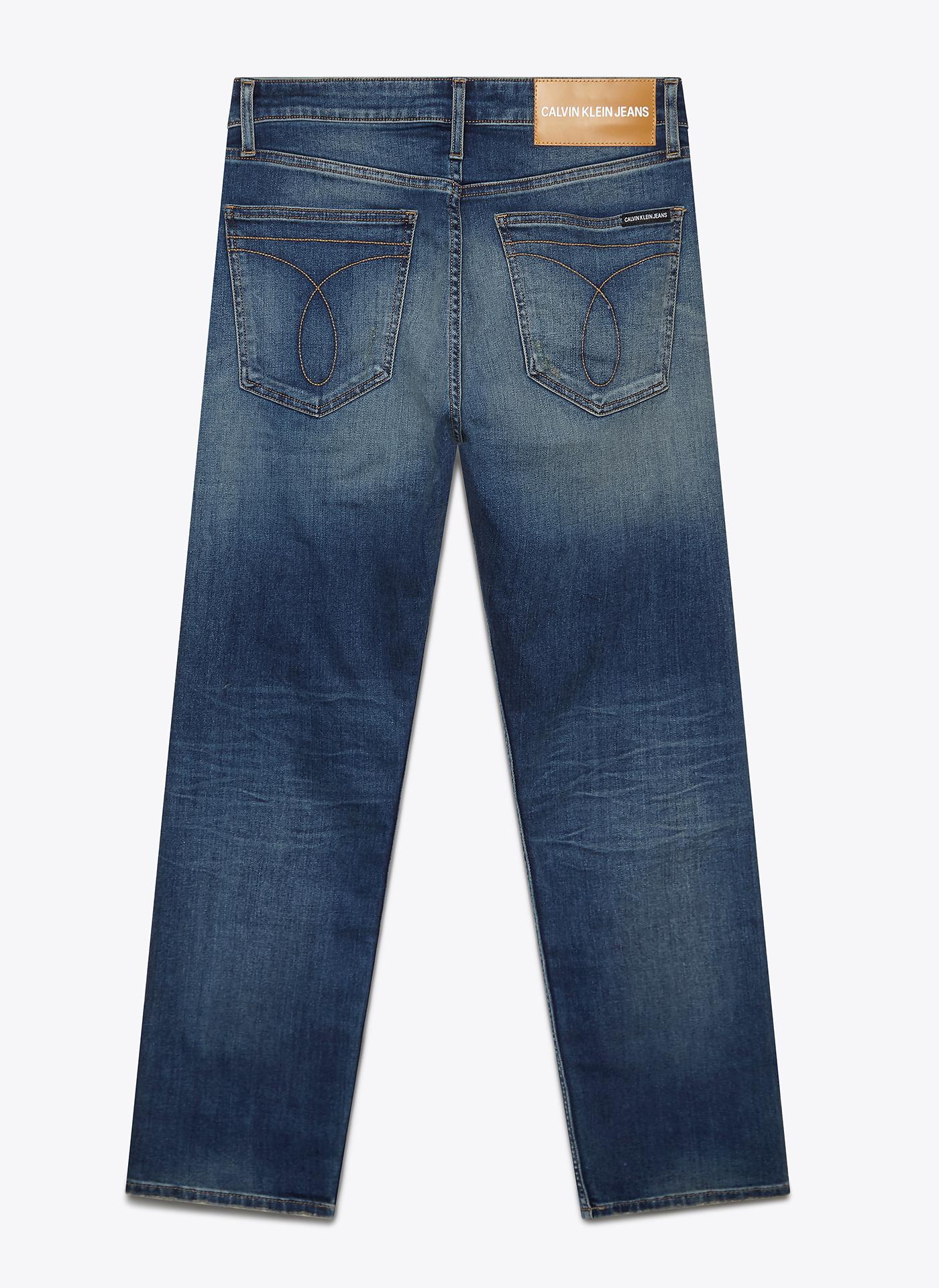 blue denim jeans back on white background