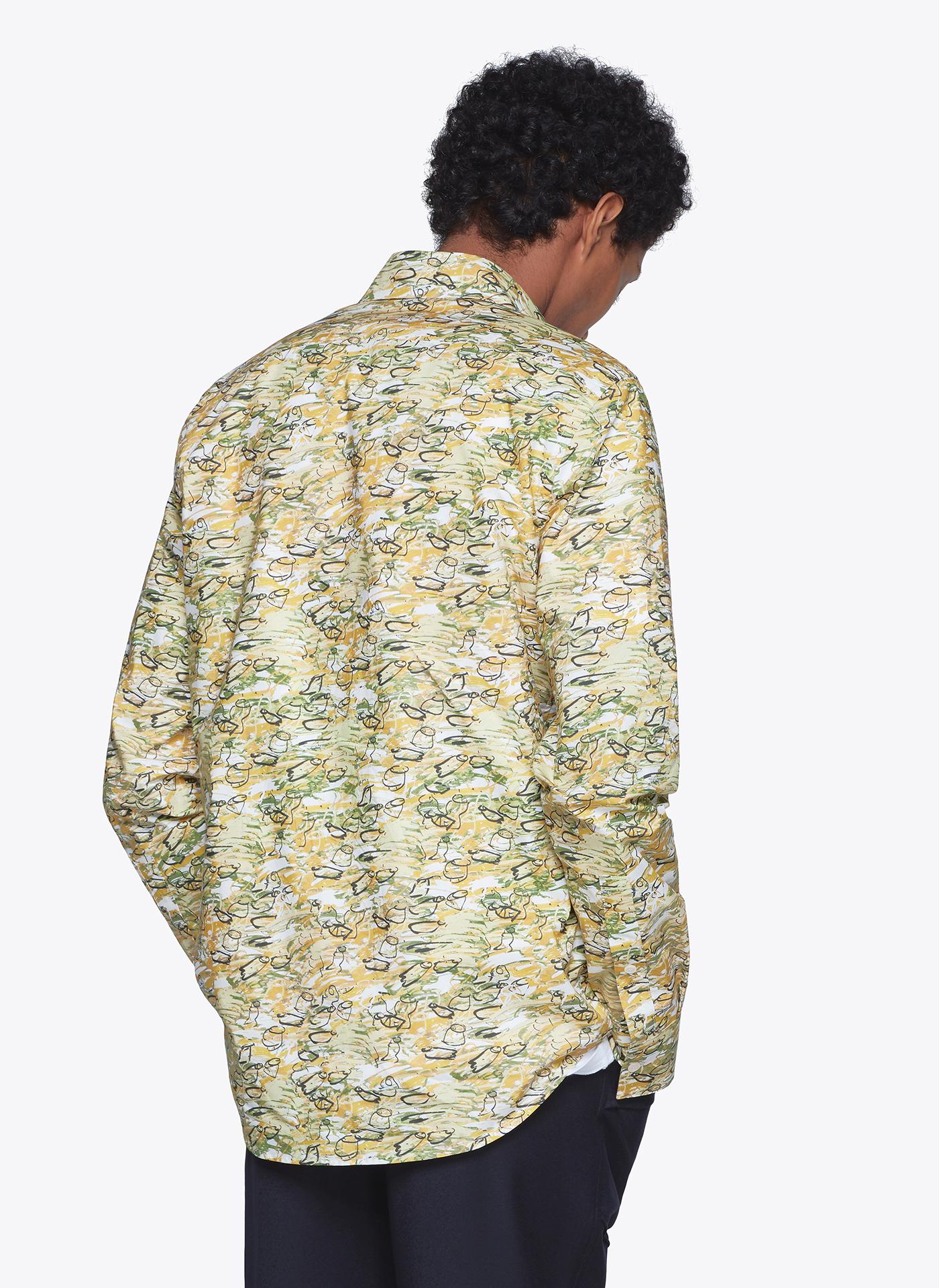 menswear model wearing light floral shirt