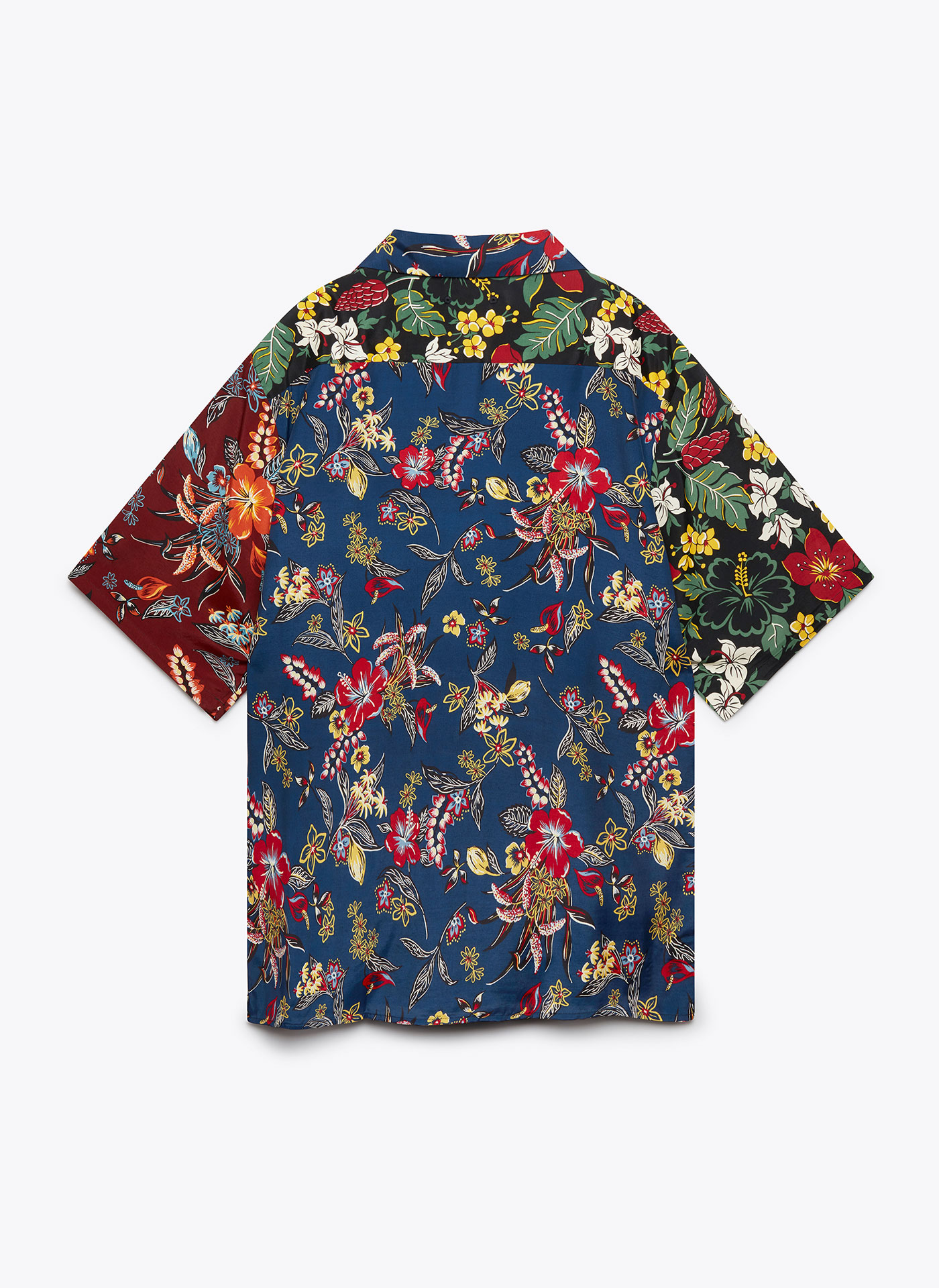 floral patterned t-shirt with buttons from the back