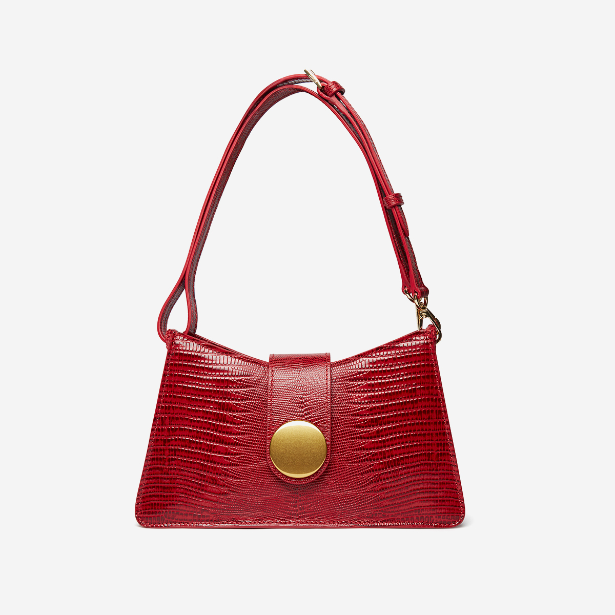 Red leather handbag with gold buckle