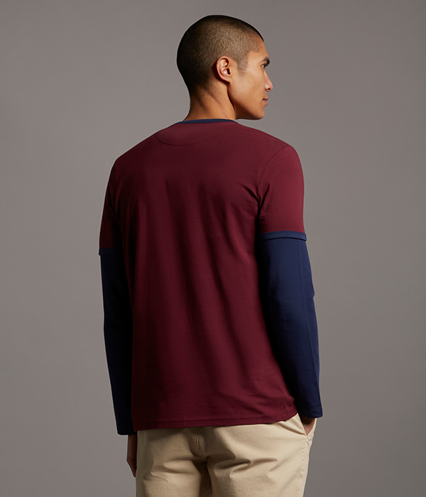 Menswear Model wearing burgundy jumper