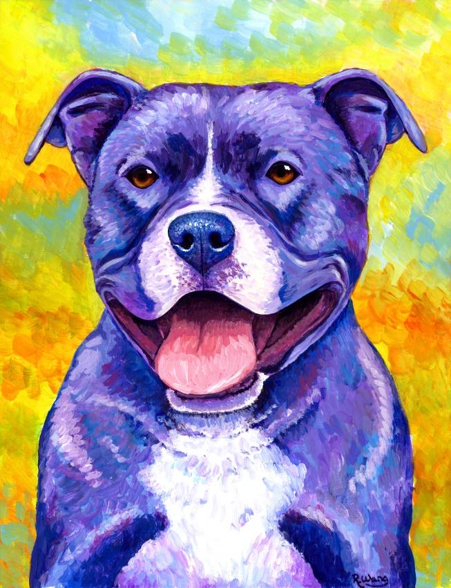 Peppy Purple Pitbull Terrier