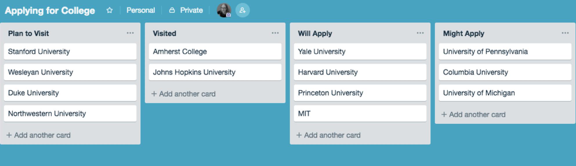 Trello college application board