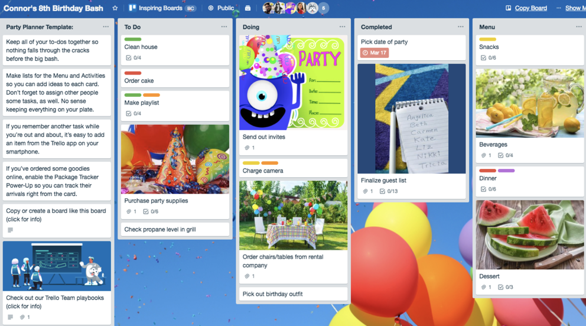 Trello birthday party planning template