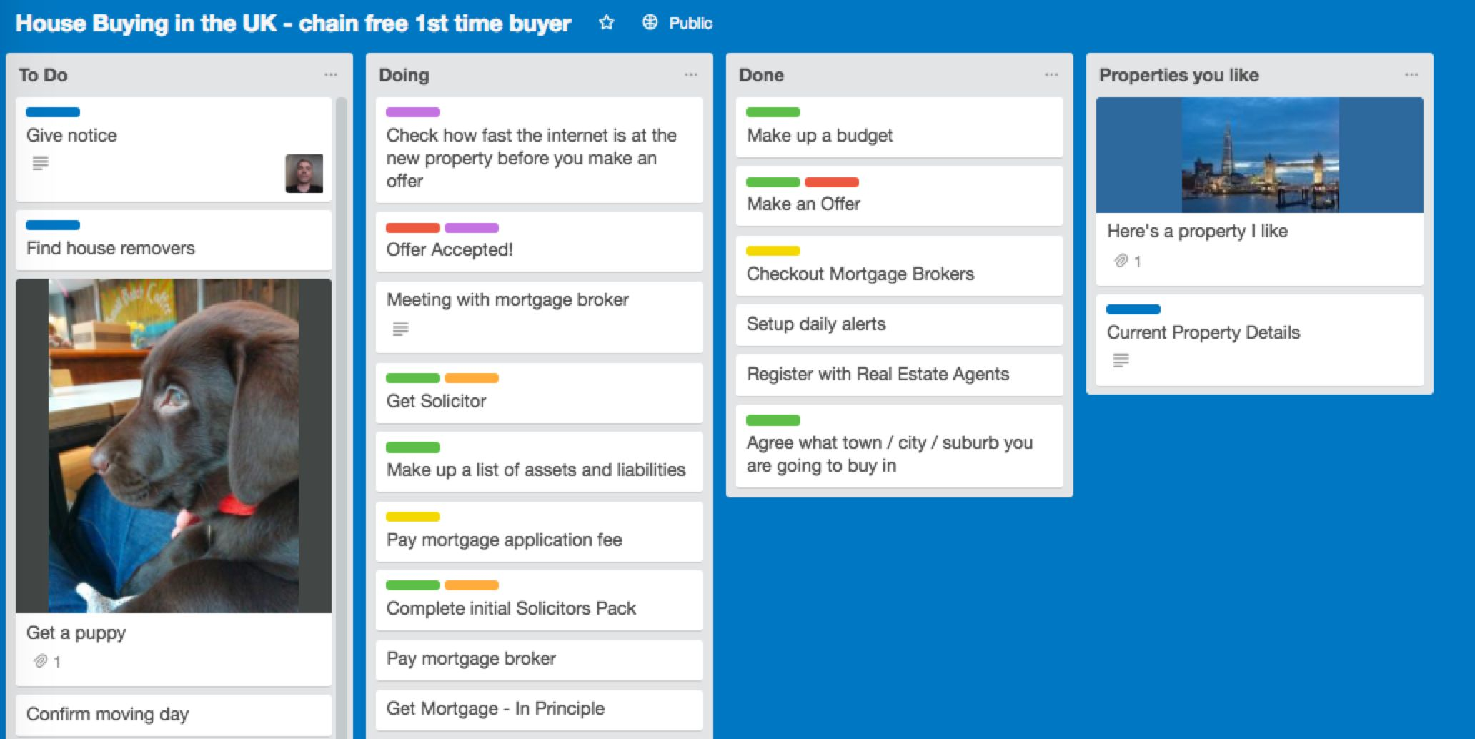 Homebuying Trello board