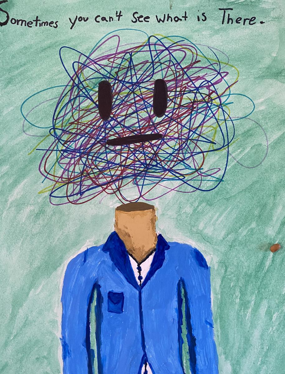 original student artwork on mental health