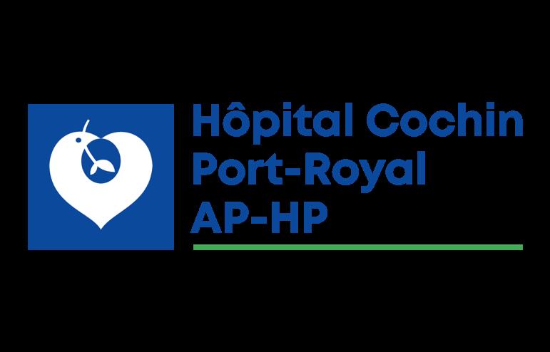 Logo de l'Hôpital Cochin à Paris, bleu foncé sur fond transparent