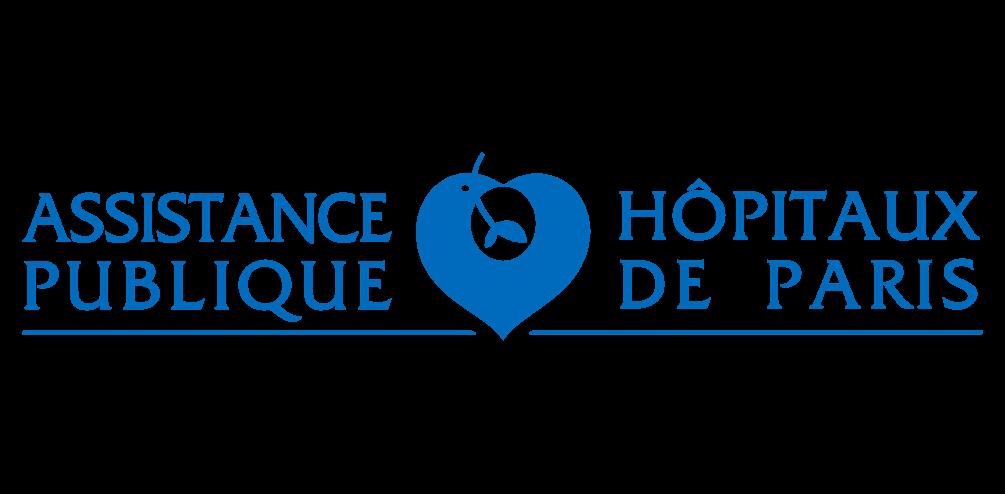 Logo de l'Assistance Publique - Hôpitaux de Paris, bleu sur fond transparent