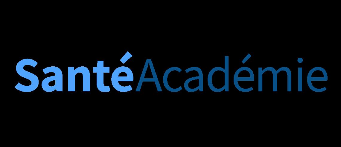 Logo de Santé Académie, bleu ciel et bleu foncé sur fond transparent