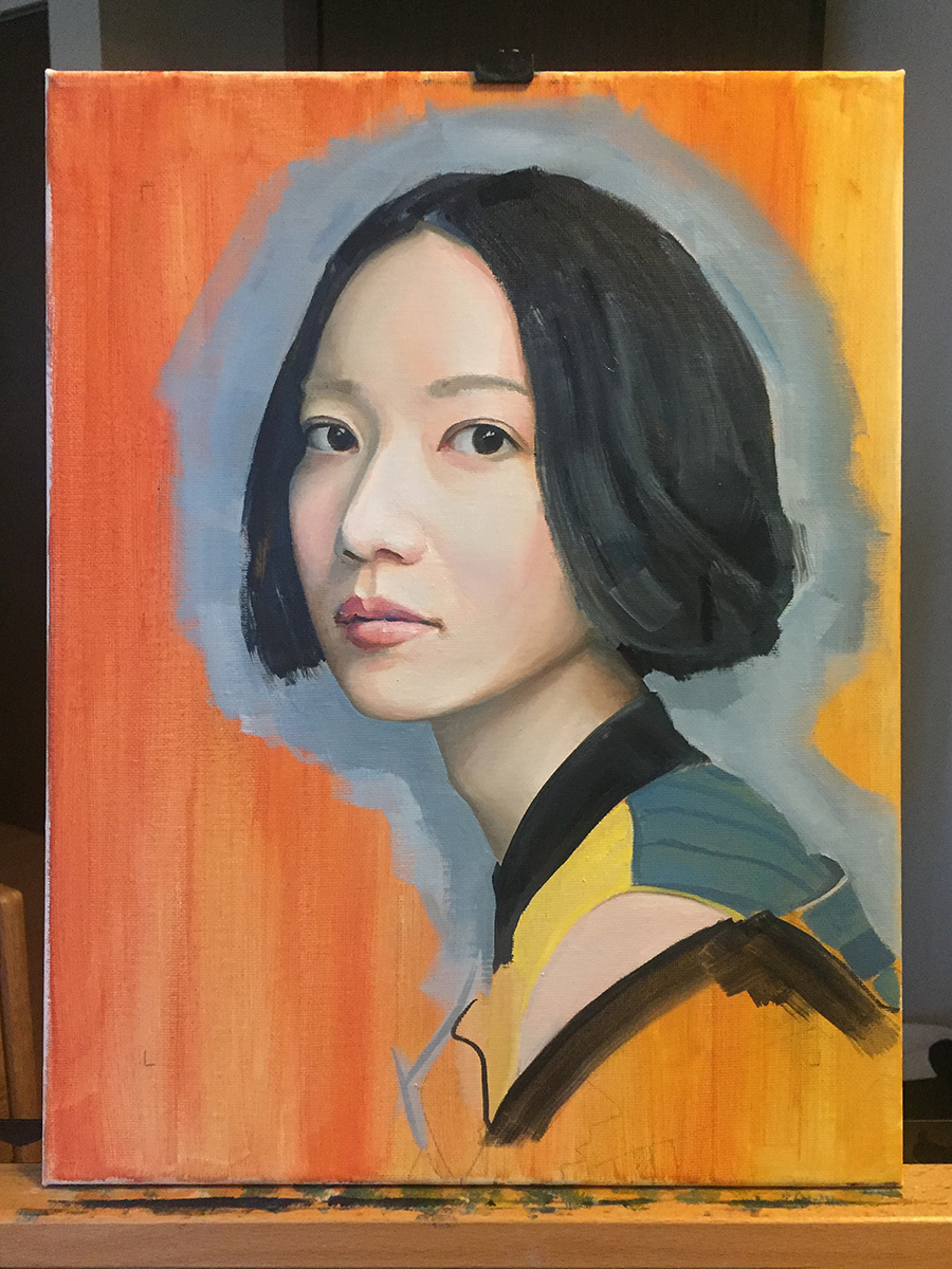 Oil portrait of young woman looking sideways at viewer