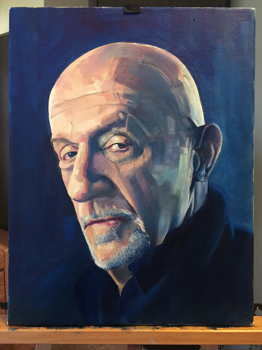 Oil portrait of old man looking sideways at viewer