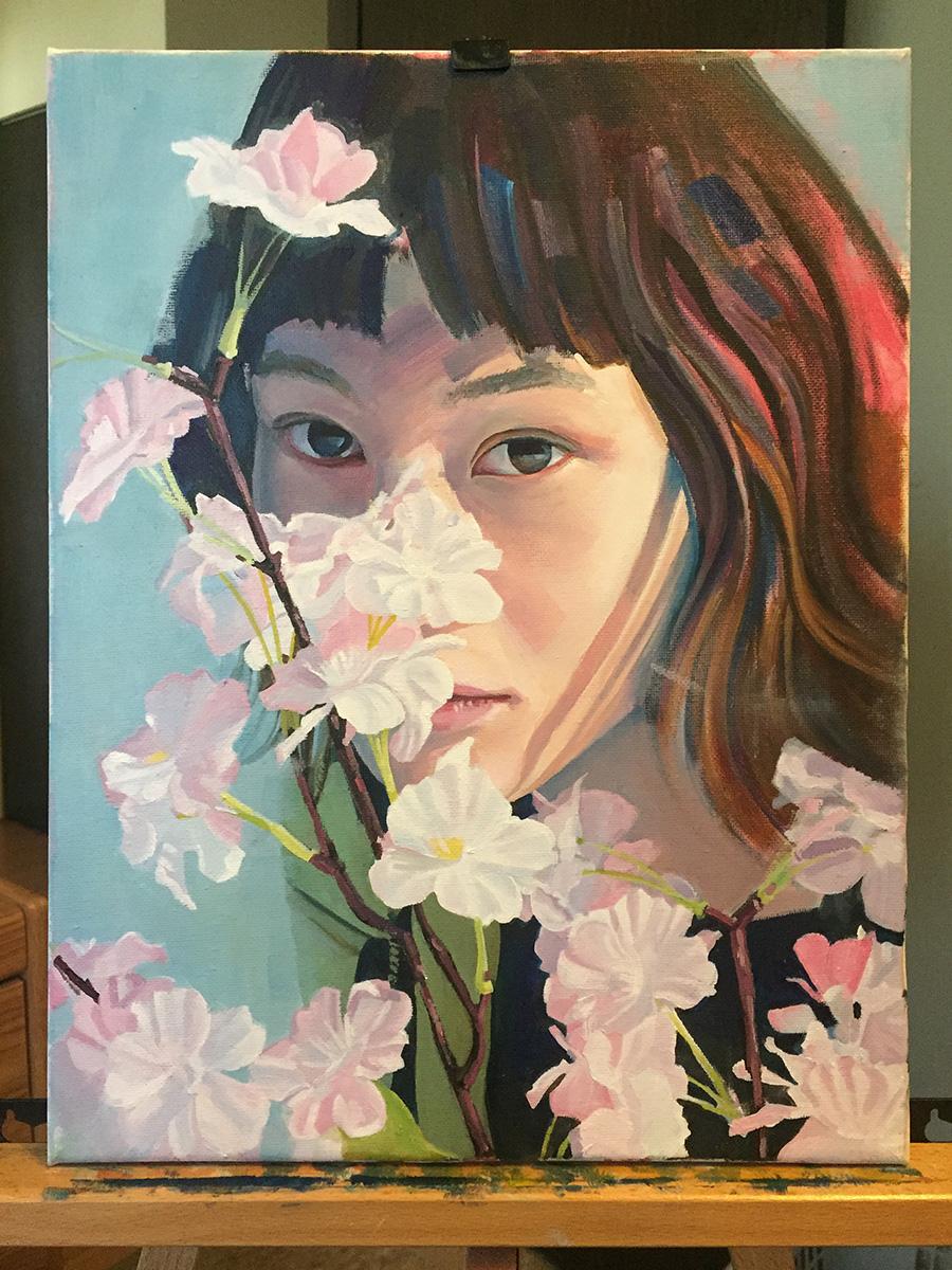 Oil portrait of woman hiding behind flowers