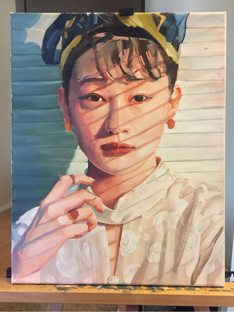 Mostly finished oil painting of Kom_i
