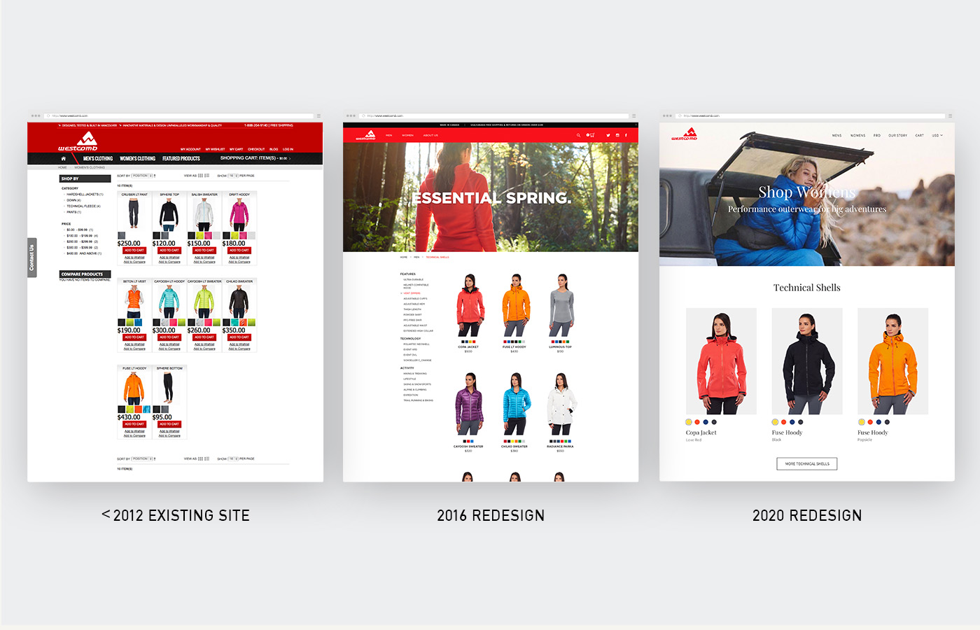 Evolution of the Westcomb website from transactional on the left, to lifestyle focused on the right.