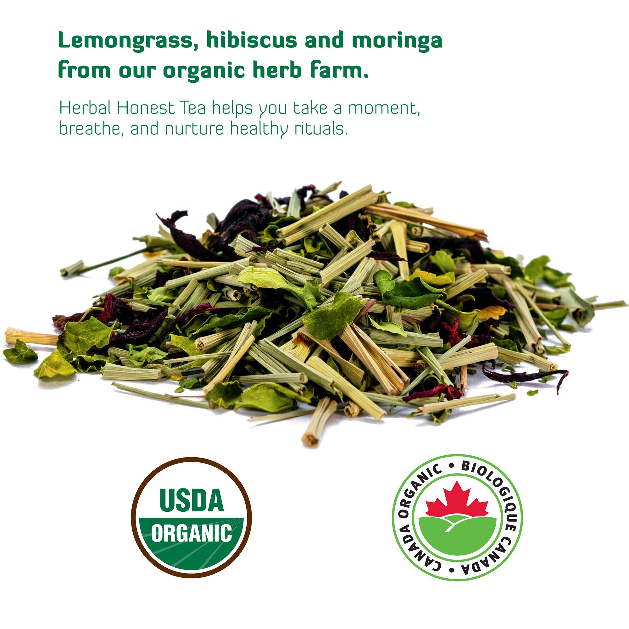 A pile of organic lemongrass, hibiscus, and moringa tea.