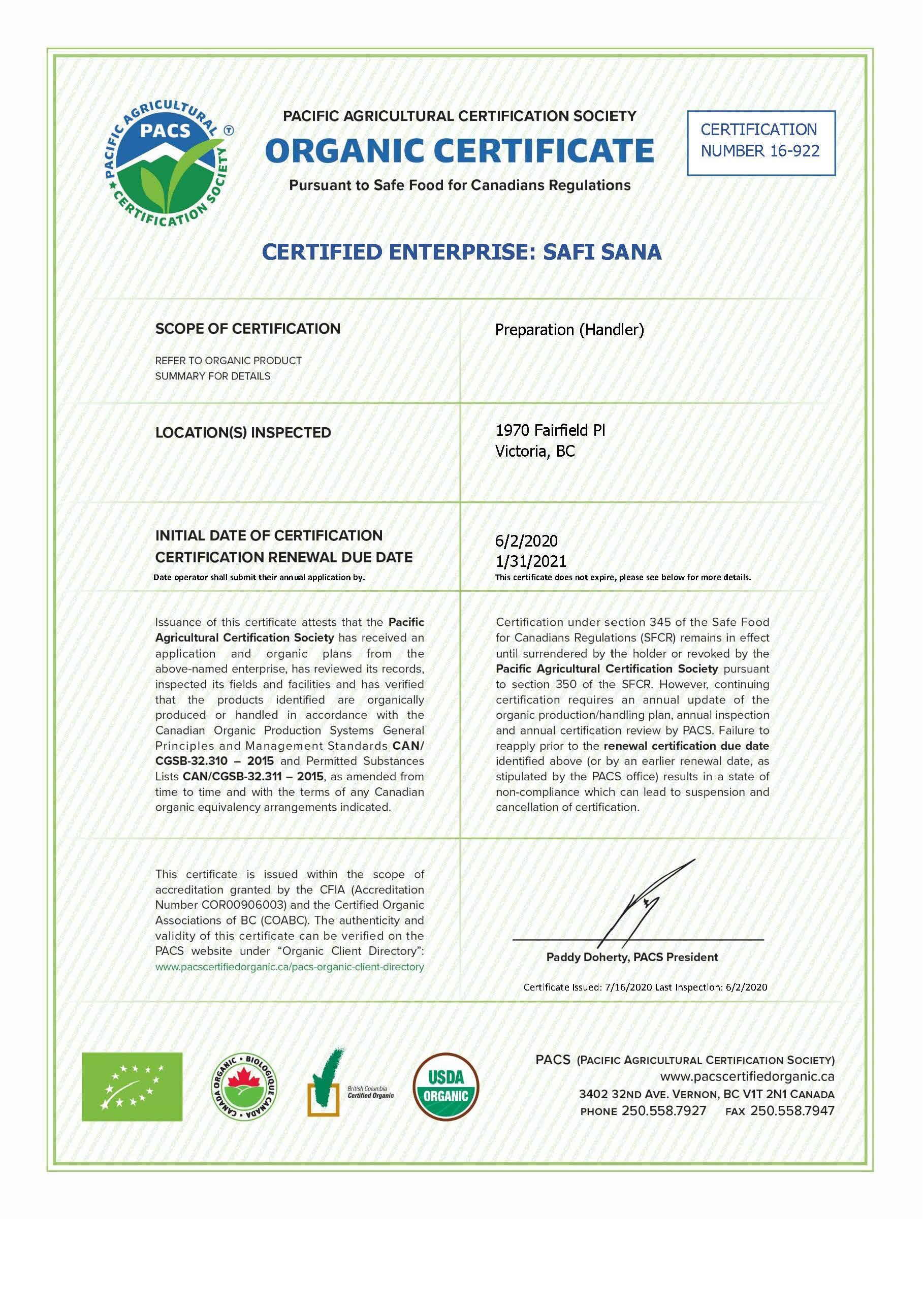 PACS organic certificate for Safi Sana