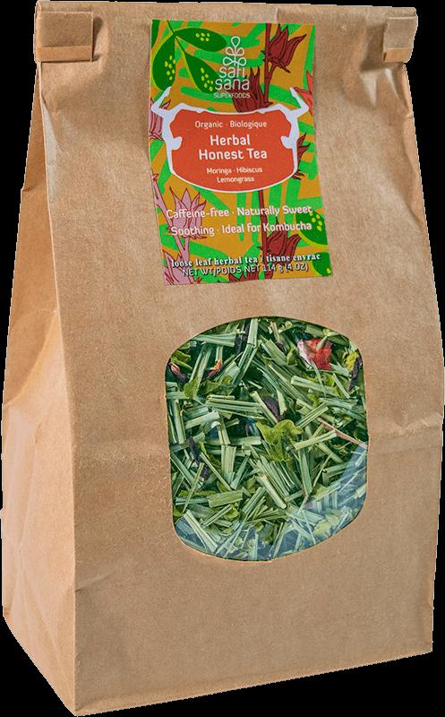 Compostable package of loose leaf Herbal Moringa Tea made of organic moringa, lemongrass and hibiscus.