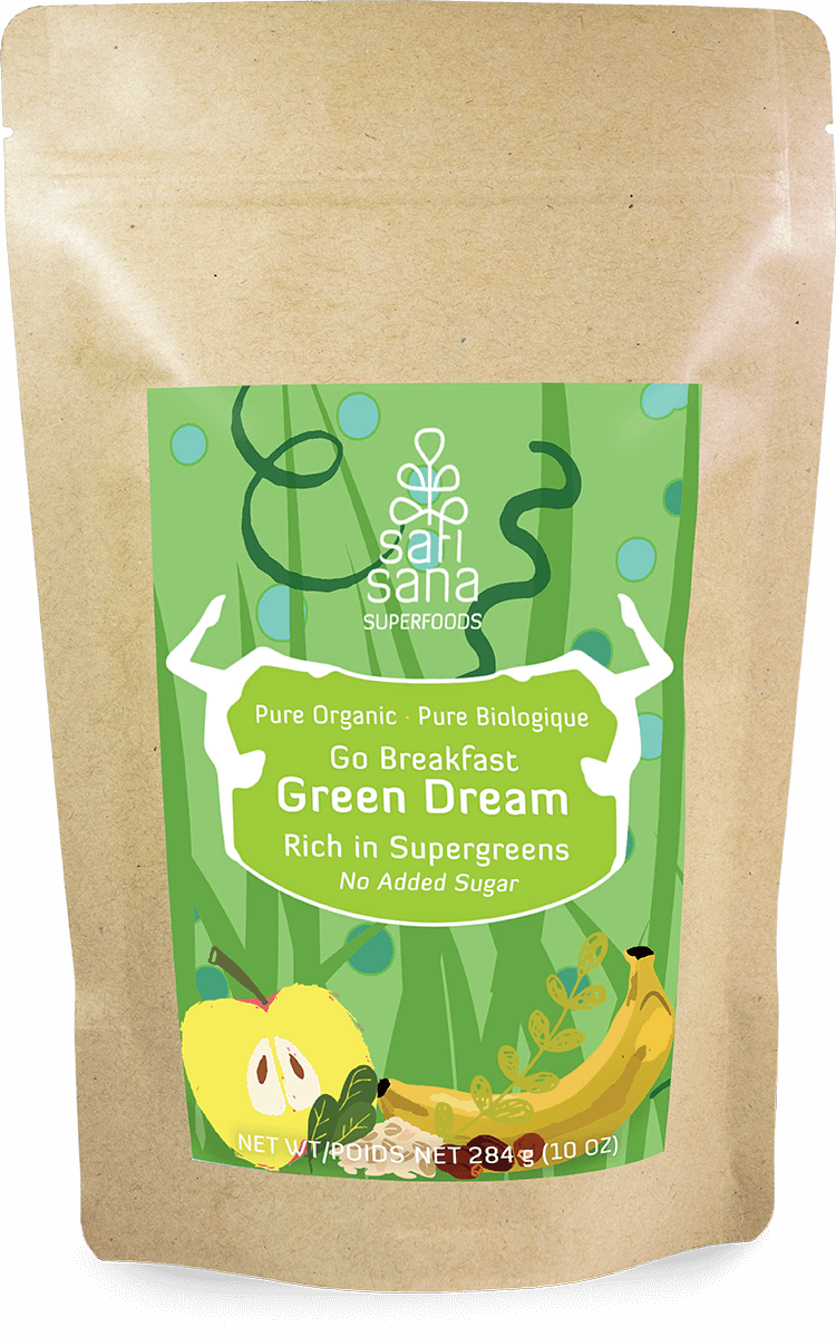 Package of instant breakfast superfood powder Green Dream with moringa, pumpkin seed and spirulina.