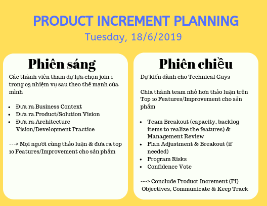 lịch product planning
