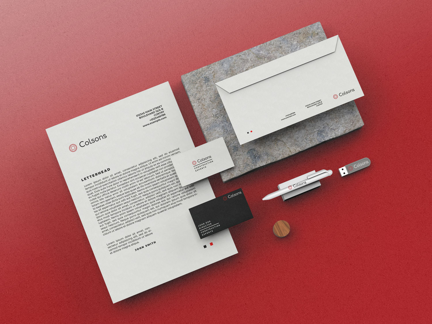 graphic design mockup of branding for Colsons Construction