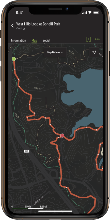 A screenshot of the West Hills Loop at Bonelli Park Outing in OuterSpatial iOS, with the Outing directionality arrows visible.