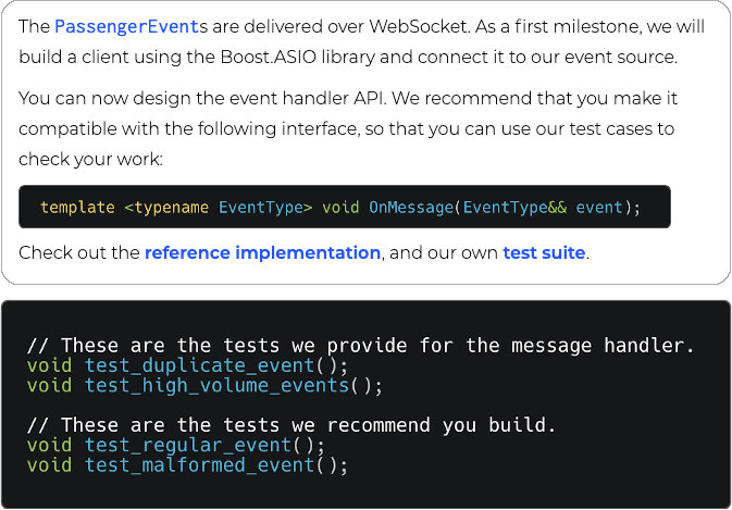 Example of Project task, with included test cases