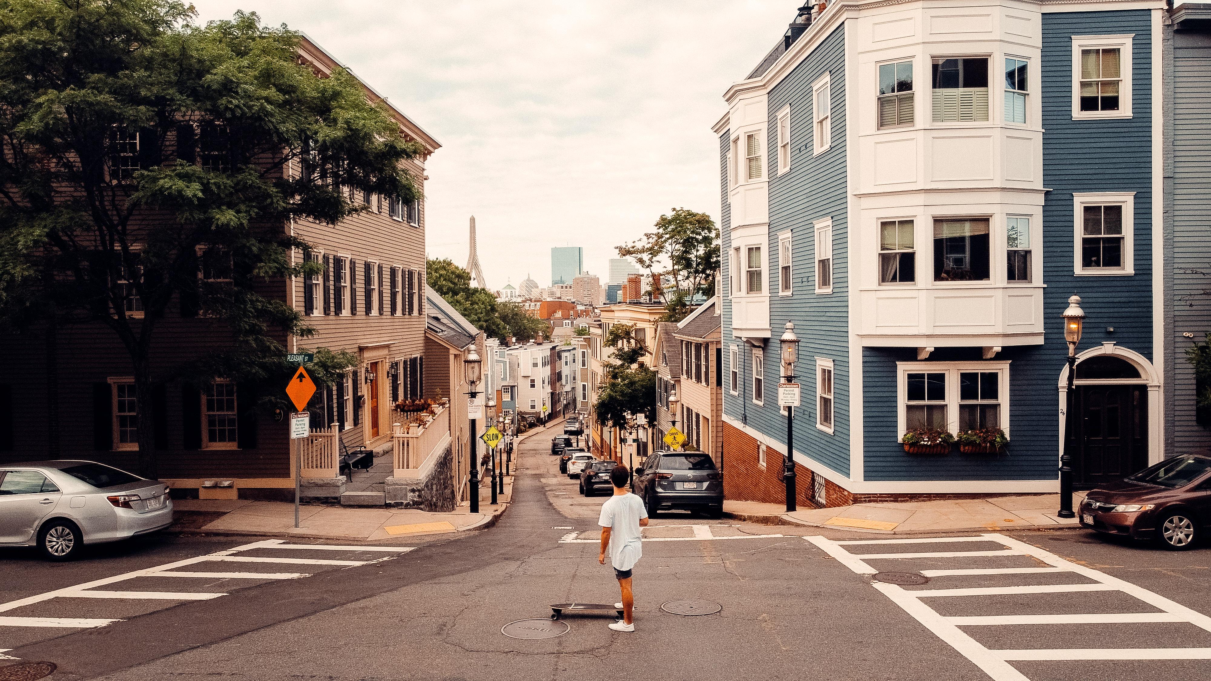 Sage Delaney skateboarding in Boston Massachusetts