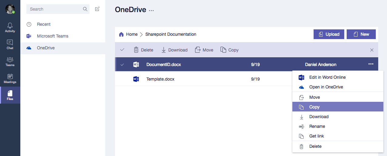 onedrive on teams