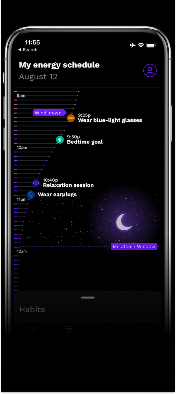 energy schedule with blue-light blocking glasses and earplugs