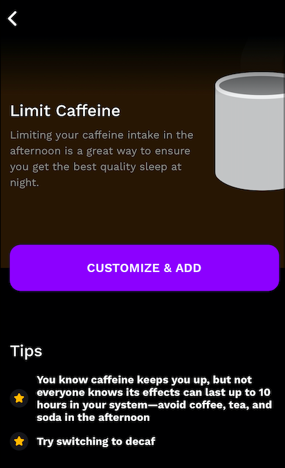 A screenshot of the Limit Caffeine reminder in the RISE app