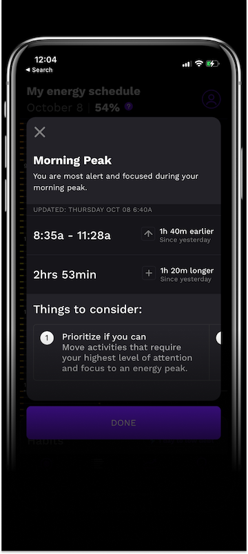 A screenshot of the energy peaks in the RISE app