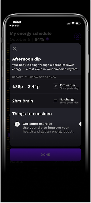 The RISE app's screen showing the afternoon dip