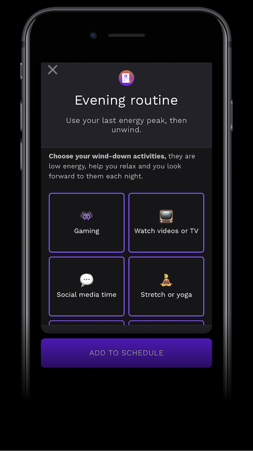 A screenshot of the RISE app's evening routine schedule
