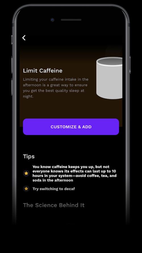 Poor sleep hygiene: A screenshot of the RISE app's Limit Caffeine reminder