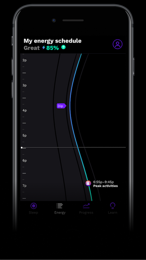 A screenshot of the RISE app's energy schedule screen