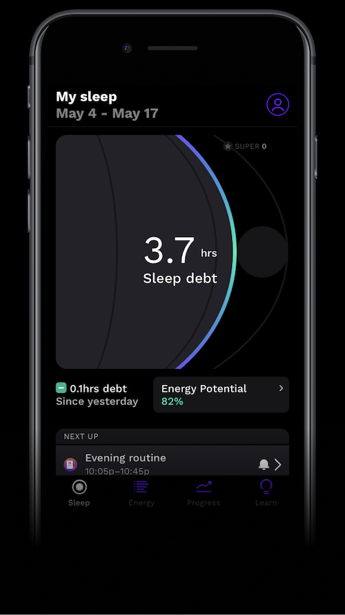 How to wake up: A screenshot of the sleep debt breakdown in the RISE app