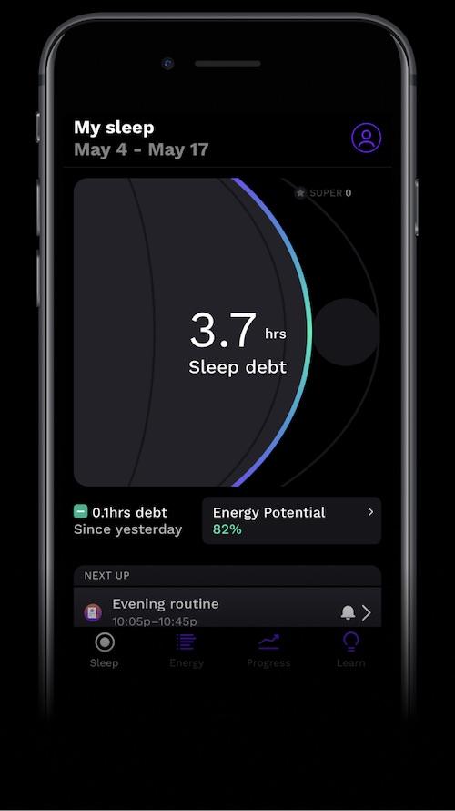 RiseApp mobile view of My sleep