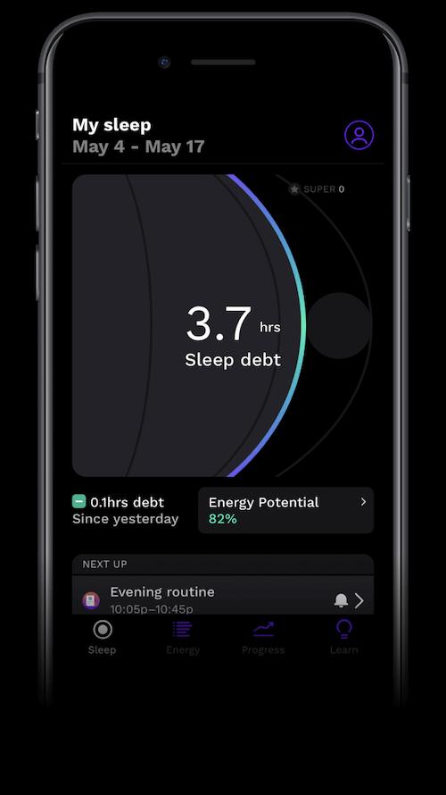 what is sleep debt: Rise App mobile view of My sleep