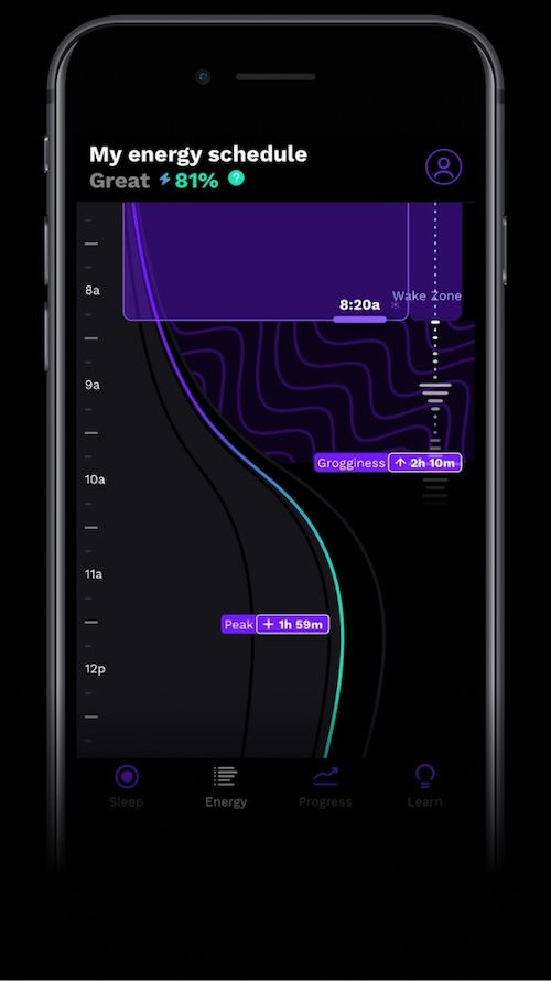 Sleeping in: Rise mobile app, My energy schedule