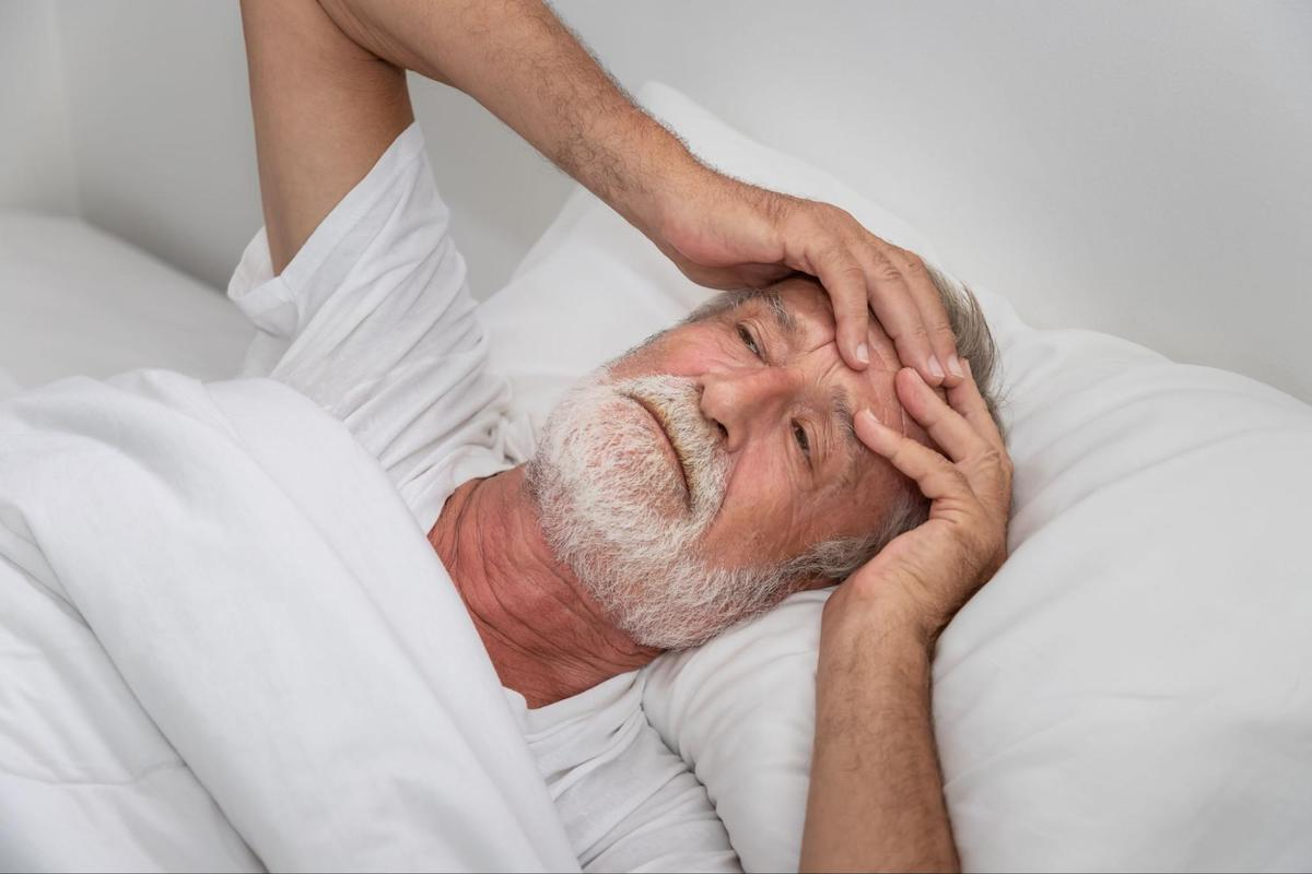 Restless sleep: elderly man who can't sleep