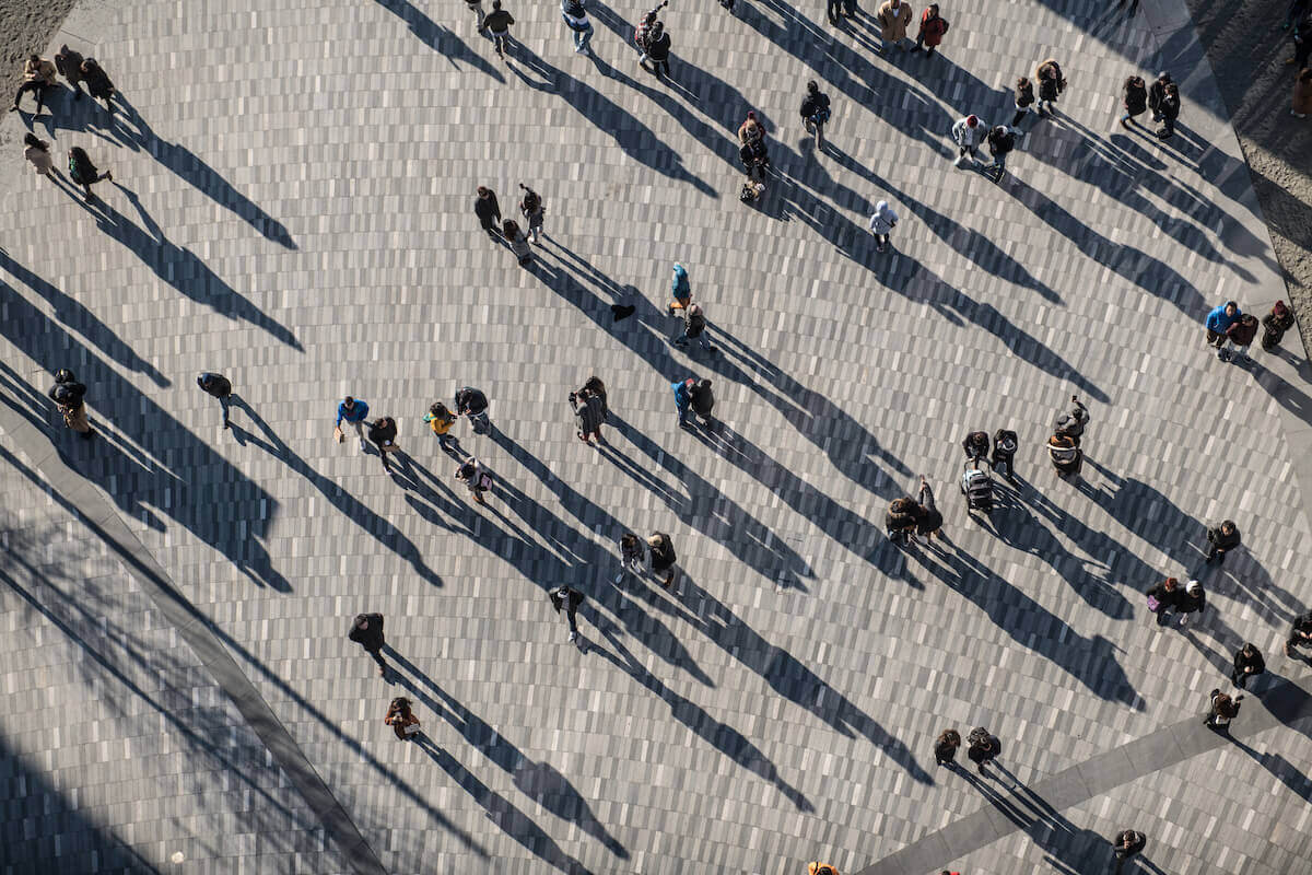 Chronotype: top-view of people walking
