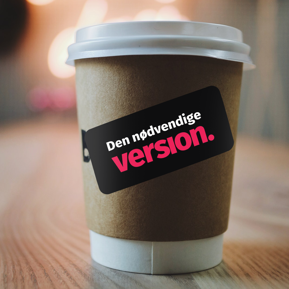 Disposable coffee cup with sticker