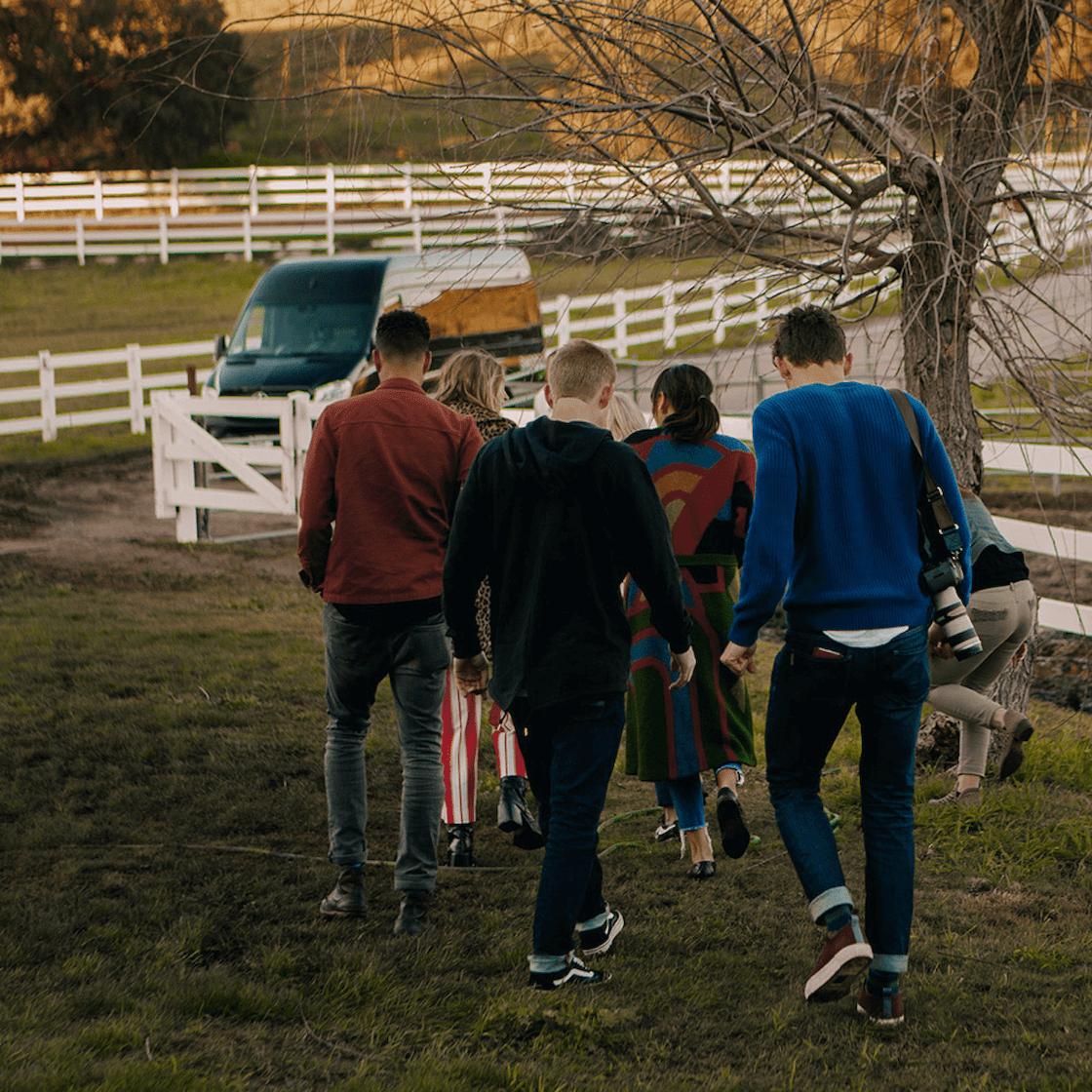 Swoop group of people walking